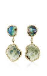 Kimberly Mcdonald Light Geode And Boulder Opal Double Drop Earrings Green