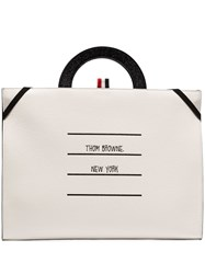 Thom Browne Black And White Paper Label Leather Briefcase