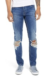 Topman Ripped Stretch Skinny Fit Jeans Blue