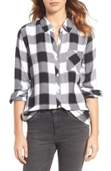 Rails Women's Hunter Button Down Plaid Shirt Ebony Ivory Buffalo Check