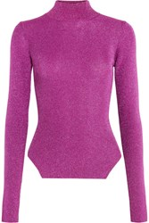 Thierry Mugler Metallic Ribbed Stretch Knit Turtleneck Sweater Fuchsia