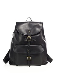 Polo Ralph Lauren Drawstring Leather Backpack Black