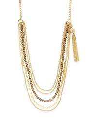 Saks Fifth Avenue Multi Strand Chain And Bead Tassel Necklace Gold