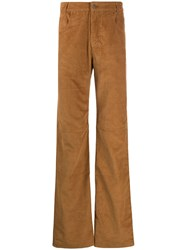 Telfar Textured Flared Trousers Brown