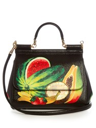 Dolce And Gabbana Sicily Medium Fruit Print Leather Tote Black Multi