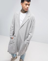 Asos Extreme Oversized Jersey Duster Coat In Grey Paving