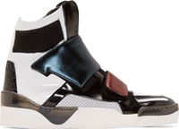Giuliano Fujiwara Black And White Mesh Panel High Top Sneakers