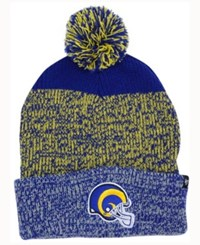 47 Brand '47 Los Angeles Rams Static Cuff Pom Knit Hat Royalblue Yellow Gray