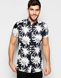 Asos Shirt With Monochrome Flower Print In Regular Fit Black White