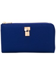 Dolce And Gabbana Padlock Zip Purse Women Calf Leather Metal Other One Size Blue