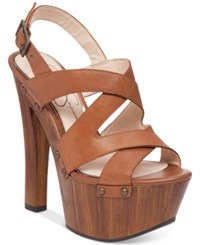Jessica Simpson Damelo Strappy Wood Heel Platform Sandals Women's Shoes Burnt Umber