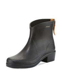 Aigle Miss Juliette Rubber Ankle Boot Black Noir