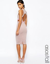 Asos Tall Embellished Waist Midi Bodycon Dress With Open Back Nude Pink