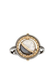 Elie Top Diamond Silver And Yellow Gold Mir Ring