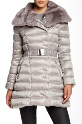 Dawn Levy Genuine Rabbit Fur Trimmed Belted Down Jacket Gray