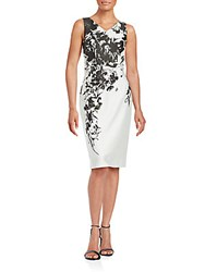 David Meister Sleeveless Foliage Print Sheath Dress Blush Pink