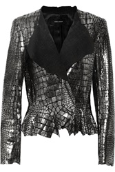 Isabel Marant Rami Metallic Croc Effect Leather Jacker