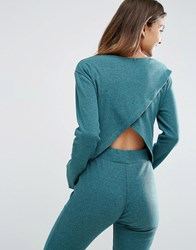 Asos Lounge Ribbed Long Sleeve Open Back Tee Green