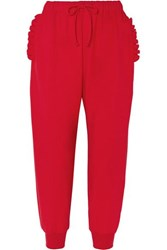 Simone Rocha Ruffled Stretch Jersey Track Pants Red