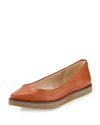 Elliott Lucca Bala Leather Pointed Toe Flat Cognac Red