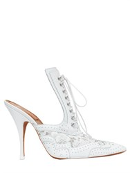 Givenchy 110Mm Lace Up Lace And Leather Mules