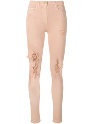 Elisabetta Franchi Distressed Skinny Jeans Pink And Purple