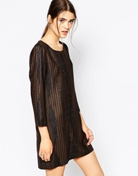See U Soon Long Sleeve Shift Dress In Dogtooth Brown