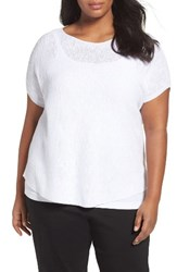 Eileen Fisher Plus Size Women's Organic Linen And Cotton Rib Sweater White