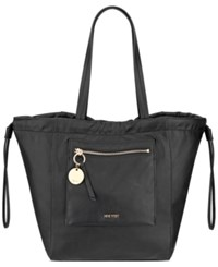 Nine West Bettine Medium Tote Black Shiny Nickel