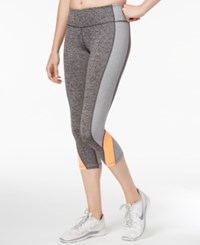 Ideology Heathered Colorblocked Cropped Leggings Only At Macy's Charcoal Melange
