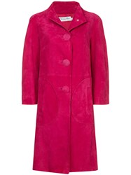 Christian Dior Vintage Nubuck Single Breasted Coat Pink And Purple