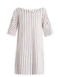 Isa Arfen Bunting Stripe Button Down Cotton Mini Dress White Multi