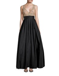 Betsy And Adam Embellished Ballgown Black Tan