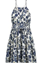 Cinq A Sept Lotus Gathered Floral Print Silk Georgette Mini Dress Multi