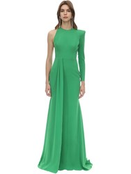 Alex Perry Long Draped Techno Crepe Dress Green
