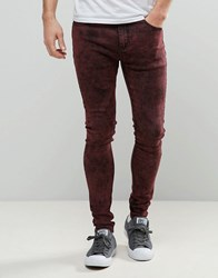 Liquor And Poker Extreme Skinny Jean Acid Red Red