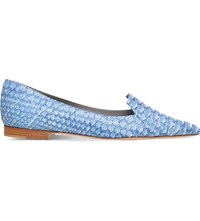 Gina Tennessee Python Skin And Leather Flats Denim