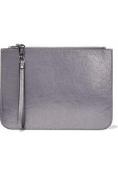 Iris And Ink Metallic Cracked Leather Pouch Anthracite