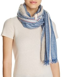Fraas Jacquard Border Scarf Chambray Blue