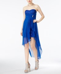 Teeze Me Juniors' Strapless Sequined Lace High Low Dress Royal