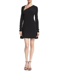 Cushnie Et Ochs Lace Up Long Sleeve Fit And Flare Dress Black