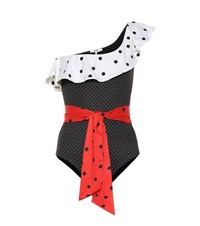Ganni Polka Dot Swimsuit Black