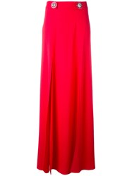 Versus Logo Plaque Maxi Skirt Women Acetate Viscose 38 Red
