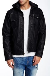 X Ray Hooded Faux Leather Jacket Black
