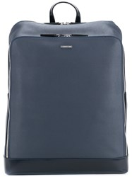 Cerruti 1881 Coated Twill Backpack Men Calf Leather One Size Blue