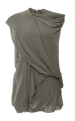 Rick Owens Bundle Loose Draped Sleeveless Top Khaki