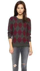 Haute Hippie Argyle Sweater Mouline Merlot Black