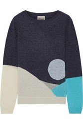 Charli Woman Camomile Intarsia Cashmere Sweater Midnight Blue