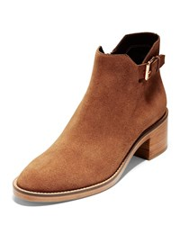 Cole Haan Harrington Grand 360 Low Heel Suede Buckle Booties British Tan