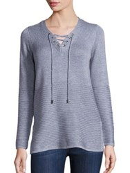 Design History Lace Up V Neck Sweater Riverstone Heather Grey